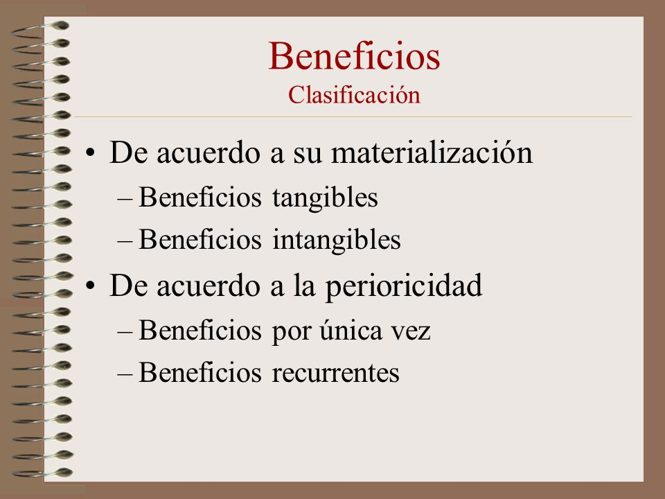 Beneficios Clasificación