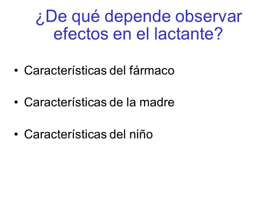 ¿De qué depende observar efectos en el lactante