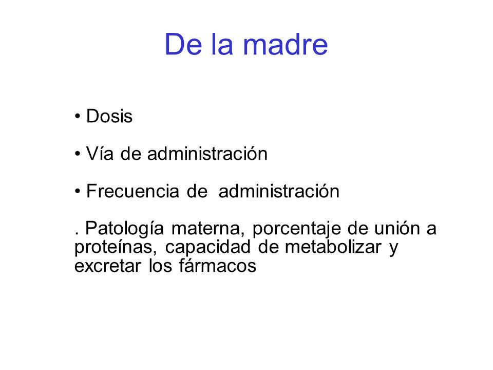 De la madre Dosis Vía de administración Frecuencia de administración