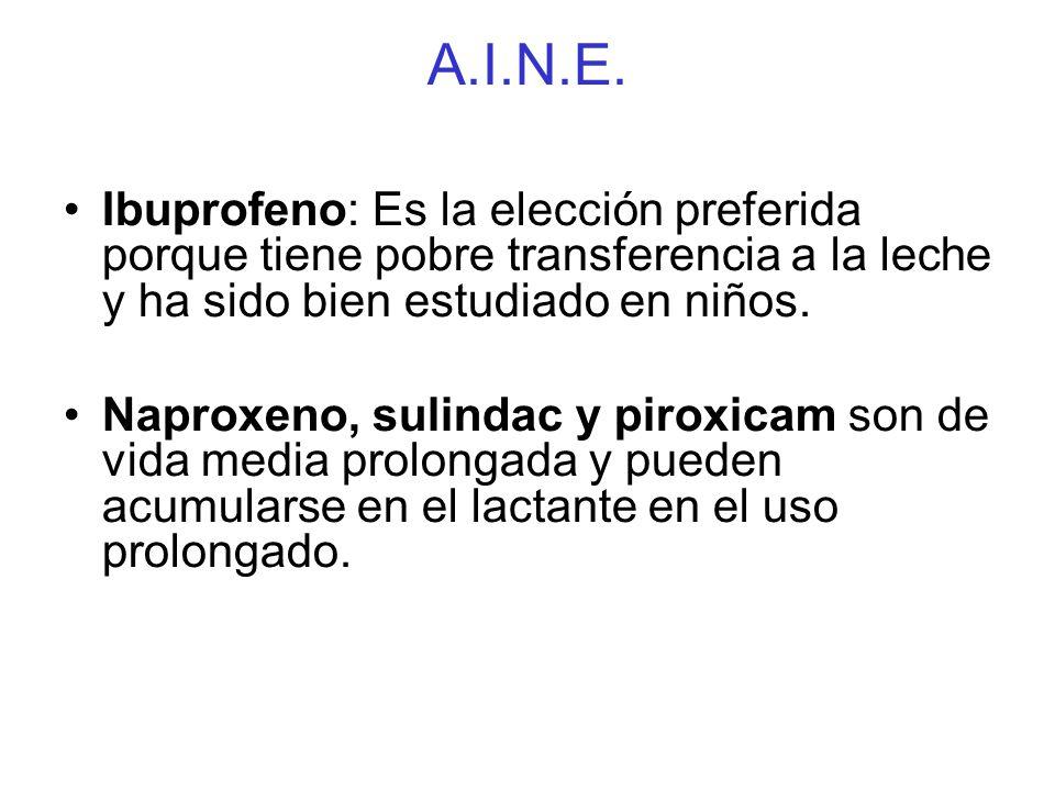 A.I.N.E. Ibuprofeno: Es la elección preferida porque tiene pobre transferencia a la leche y ha sido bien estudiado en niños.