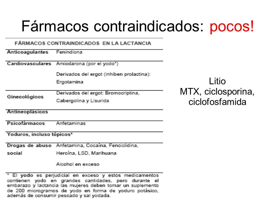 Fármacos contraindicados: pocos!