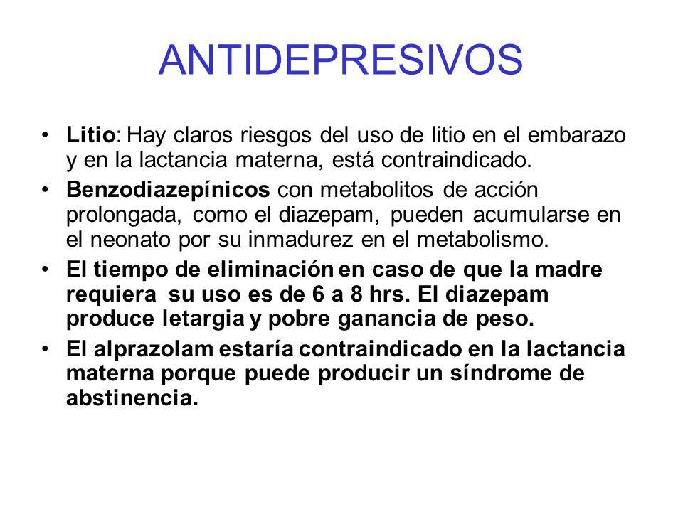 ANTIDEPRESIVOS Litio: Hay claros riesgos del uso de litio en el embarazo y en la lactancia materna, está contraindicado.