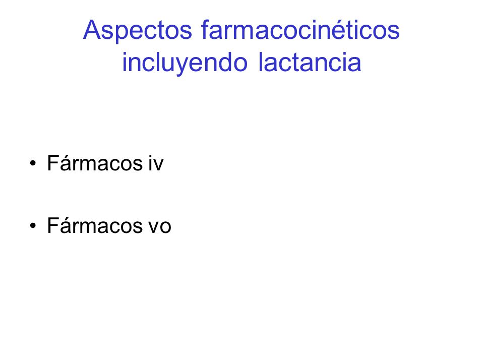 Aspectos farmacocinéticos incluyendo lactancia