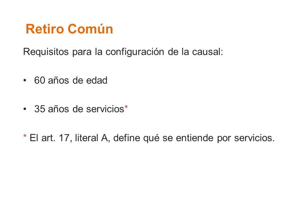 Retiro Común Requisitos para la configuración de la causal: