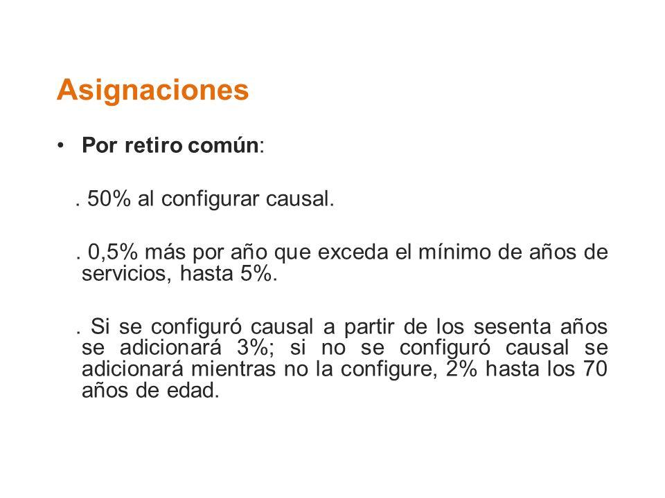 Asignaciones Por retiro común: . 50% al configurar causal.