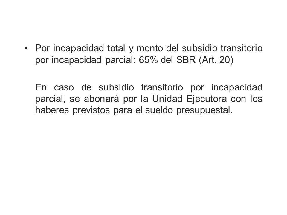 Por incapacidad total y monto del subsidio transitorio por incapacidad parcial: 65% del SBR (Art. 20)
