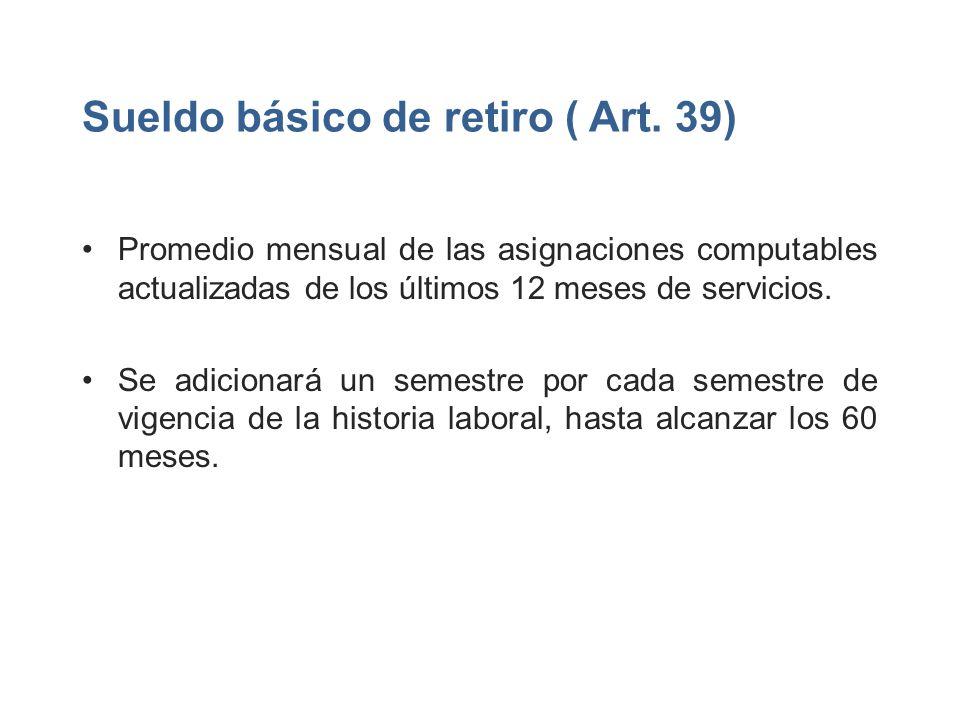 Sueldo básico de retiro ( Art. 39)