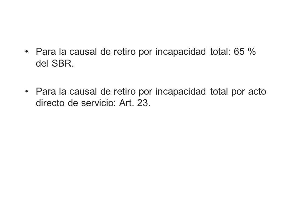 Para la causal de retiro por incapacidad total: 65 % del SBR.