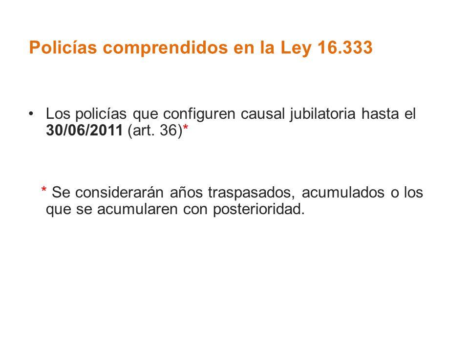 Policías comprendidos en la Ley 16.333