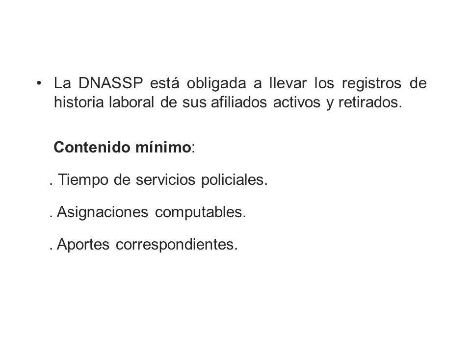La DNASSP está obligada a llevar los registros de historia laboral de sus afiliados activos y retirados.