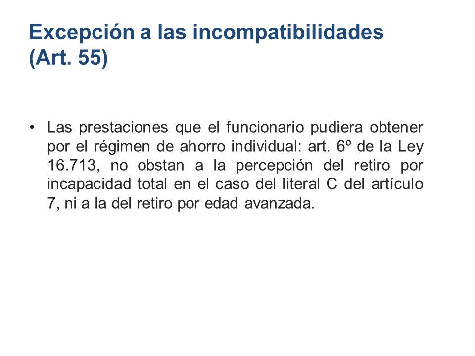 Excepción a las incompatibilidades (Art. 55)