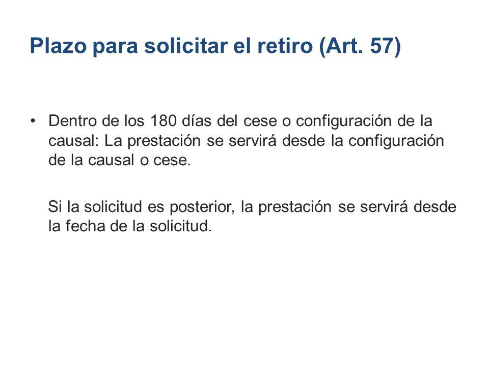 Plazo para solicitar el retiro (Art. 57)