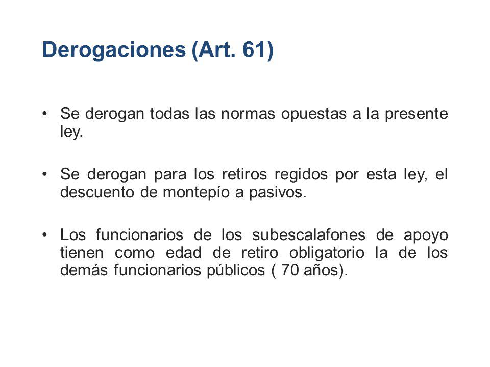 Derogaciones (Art. 61) Se derogan todas las normas opuestas a la presente ley.