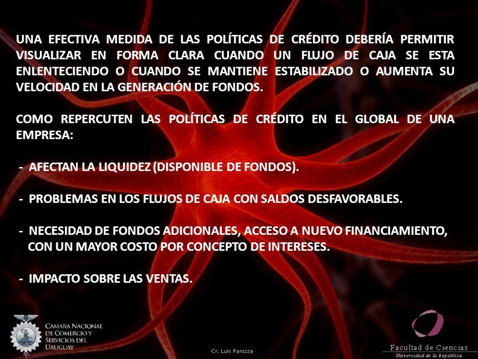 UNA EFECTIVA MEDIDA DE LAS POLÍTICAS DE CRÉDITO DEBERÍA PERMITIR VISUALIZAR EN FORMA CLARA CUANDO UN FLUJO DE CAJA SE ESTA ENLENTECIENDO O CUANDO SE MANTIENE ESTABILIZADO O AUMENTA SU VELOCIDAD EN LA GENERACIÓN DE FONDOS.