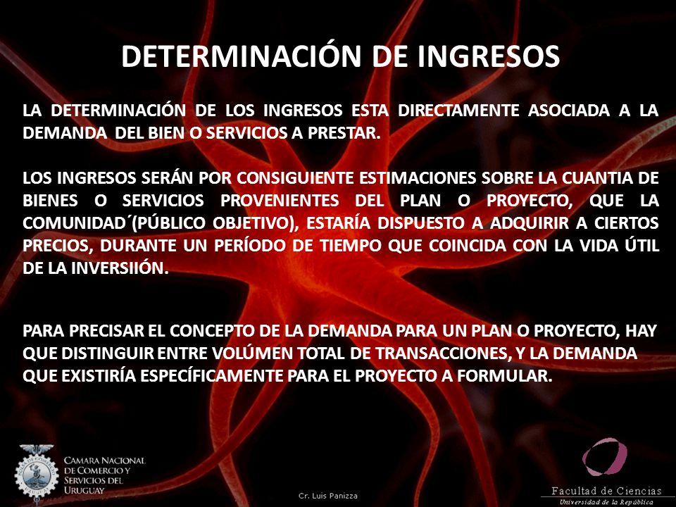 DETERMINACIÓN DE INGRESOS