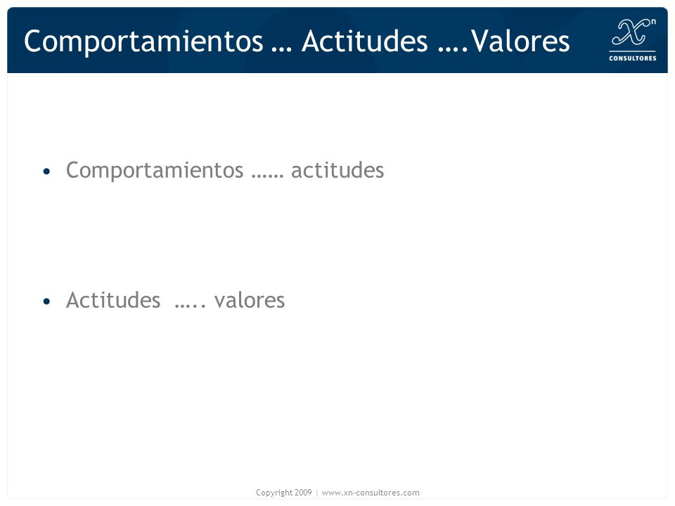 Comportamientos … Actitudes ….Valores