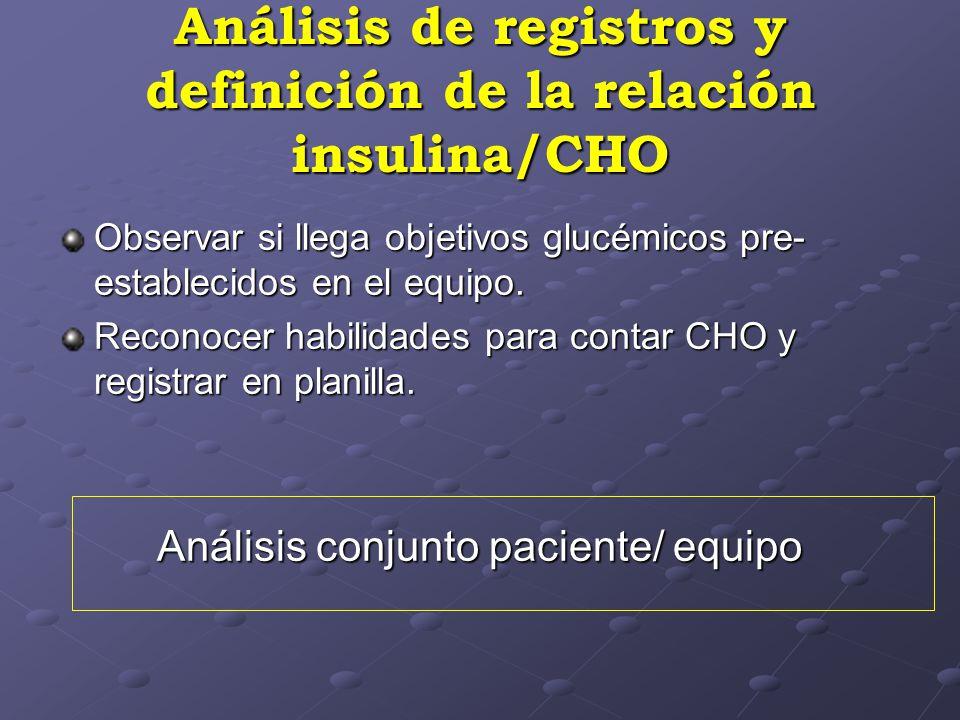 Análisis de registros y definición de la relación insulina/CHO