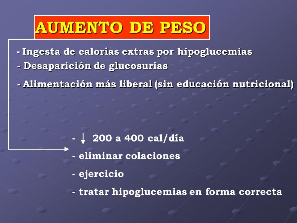 AUMENTO DE PESO - Ingesta de calorías extras por hipoglucemias