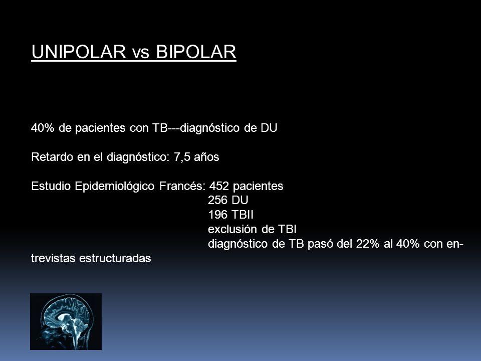 UNIPOLAR vs BIPOLAR 40% de pacientes con TB---diagnóstico de DU