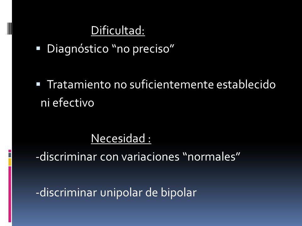 Dificultad: Diagnóstico no preciso Tratamiento no suficientemente establecido. ni efectivo. Necesidad :
