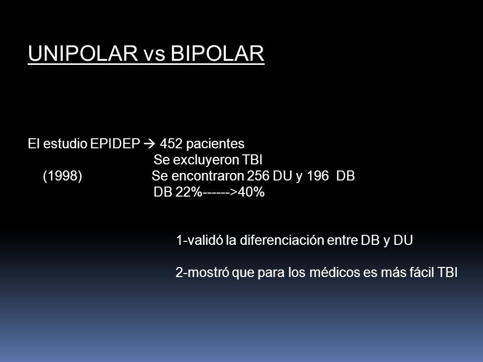 UNIPOLAR vs BIPOLAR El estudio EPIDEP  452 pacientes