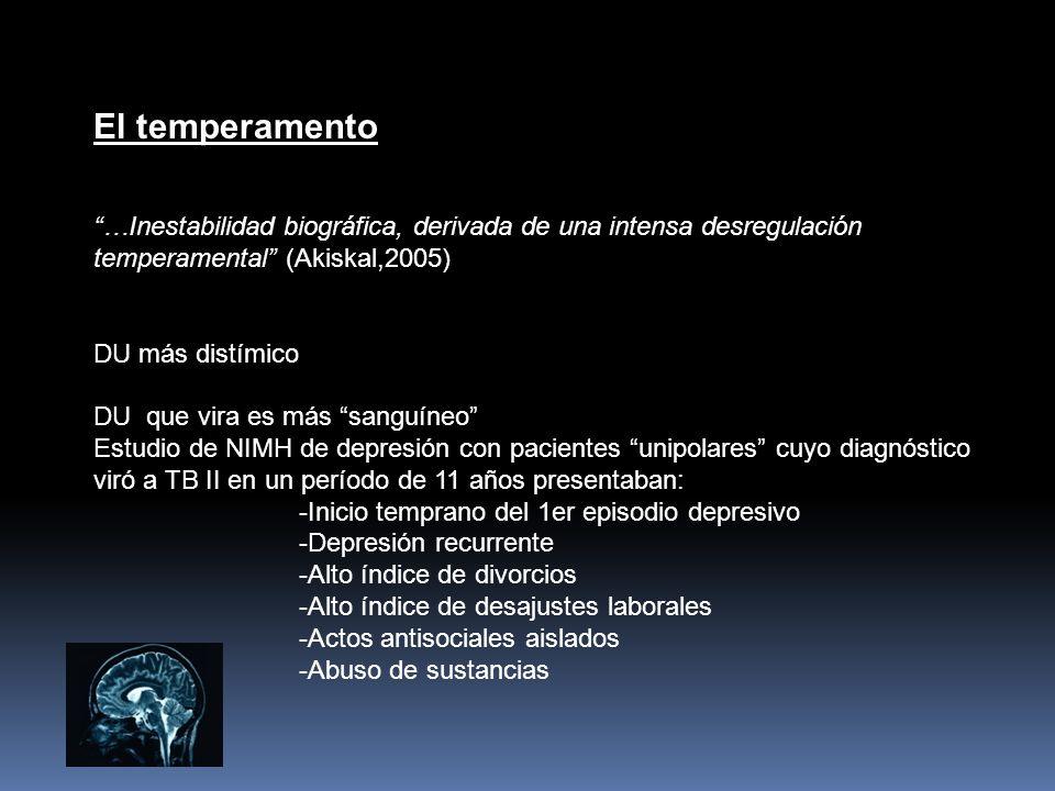 El temperamento …Inestabilidad biográfica, derivada de una intensa desregulación temperamental (Akiskal,2005)