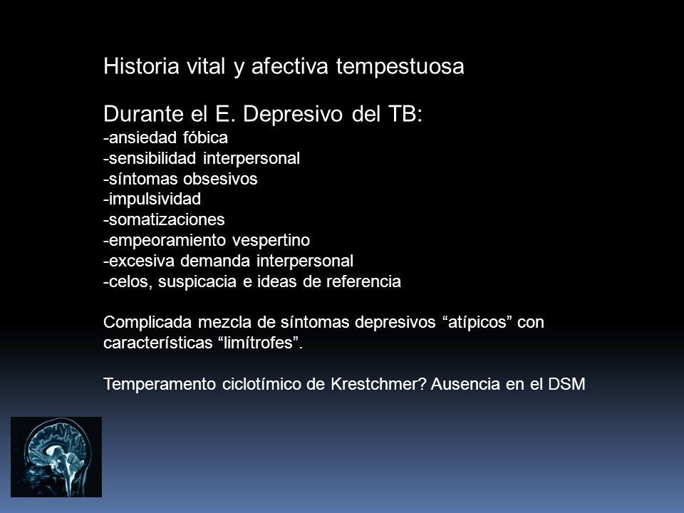 Historia vital y afectiva tempestuosa Durante el E. Depresivo del TB: