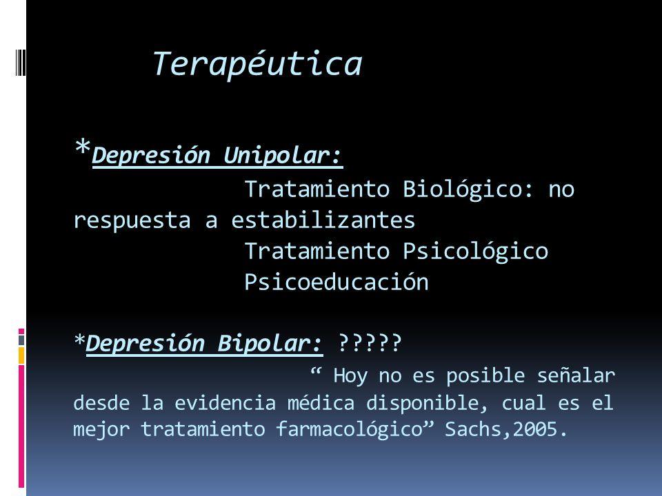 Terapéutica *Depresión Unipolar: Tratamiento Biológico: no respuesta a estabilizantes Tratamiento Psicológico Psicoeducación *Depresión Bipolar: .