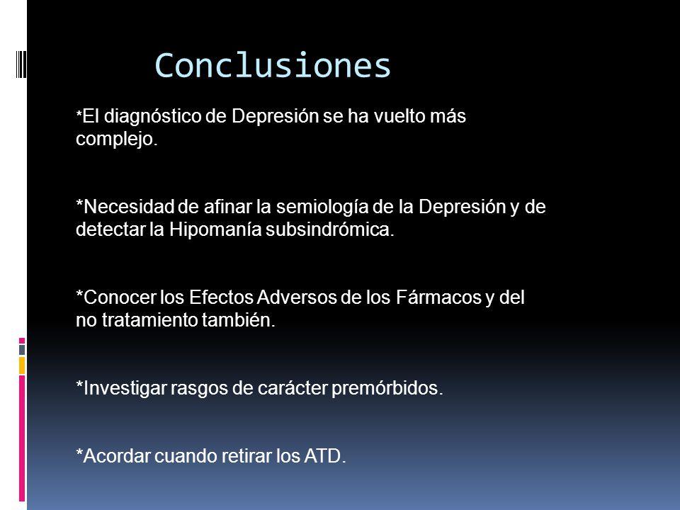 Conclusiones *El diagnóstico de Depresión se ha vuelto más complejo.