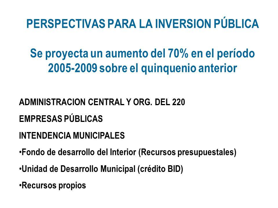 PERSPECTIVAS PARA LA INVERSION PÚBLICA Se proyecta un aumento del 70% en el período 2005-2009 sobre el quinquenio anterior