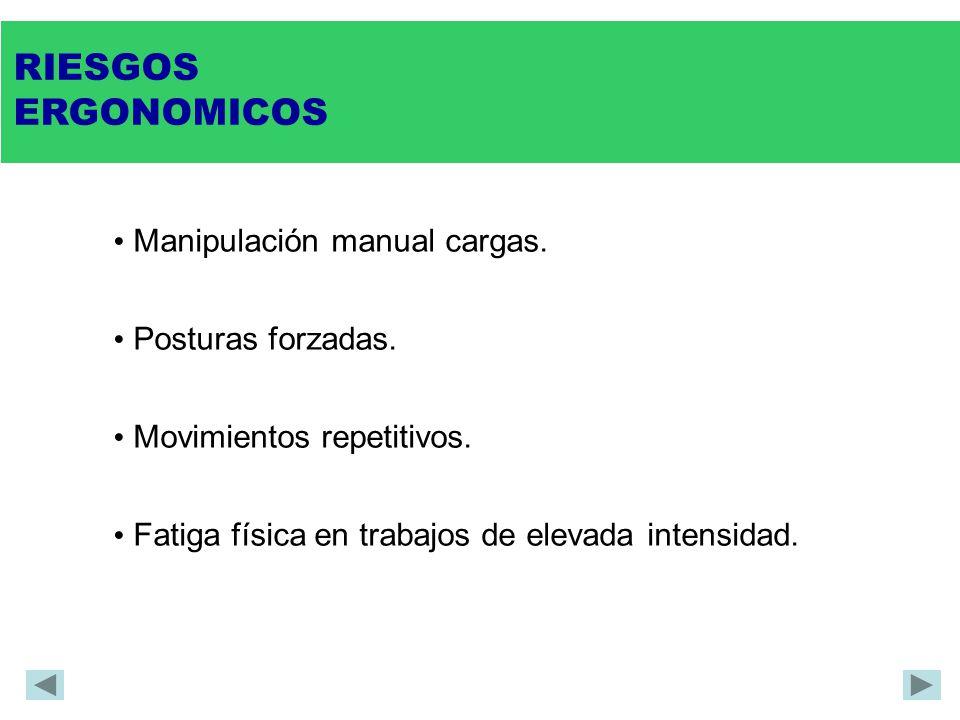 RIESGOS ERGONOMICOS Manipulación manual cargas. Posturas forzadas.