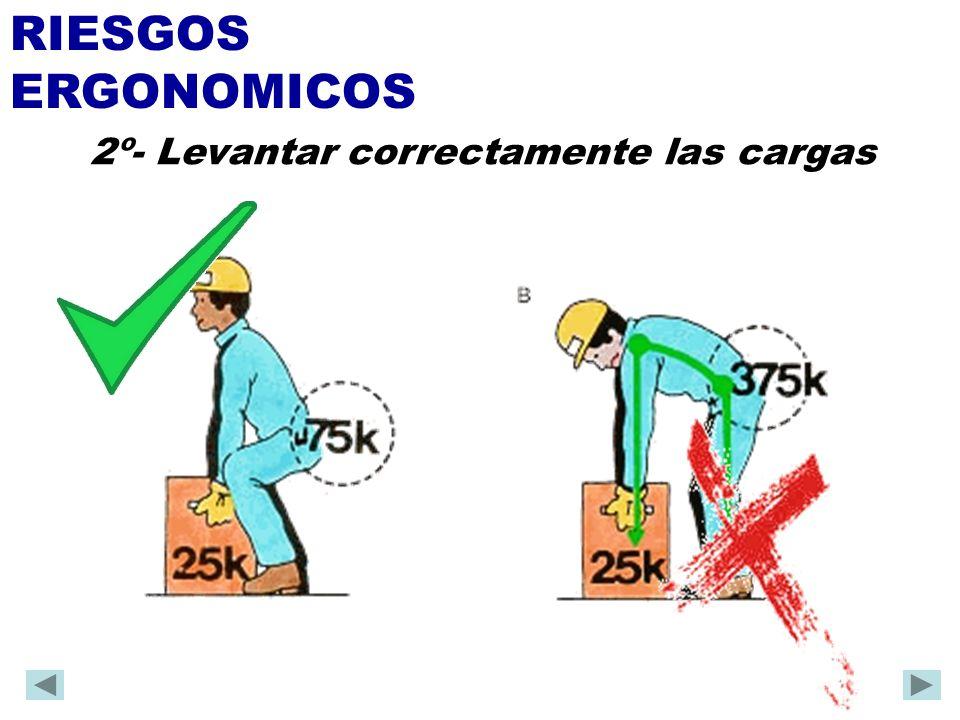 RIESGOS ERGONOMICOS 2º- Levantar correctamente las cargas