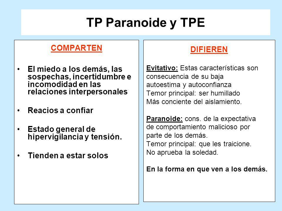 TP Paranoide y TPE COMPARTEN DIFIEREN