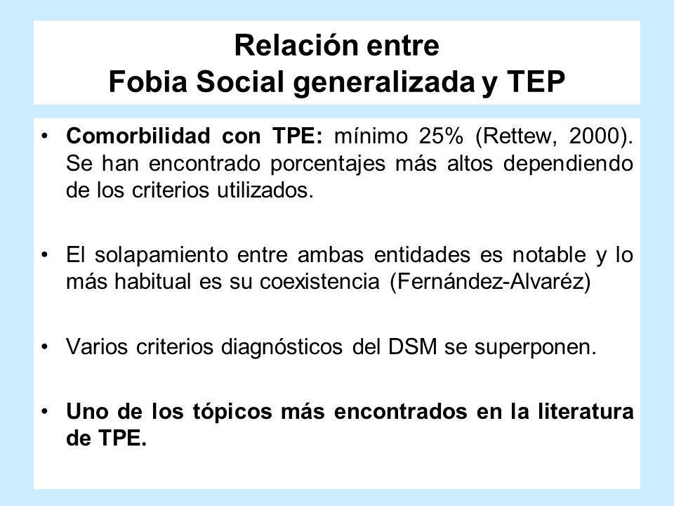 Relación entre Fobia Social generalizada y TEP