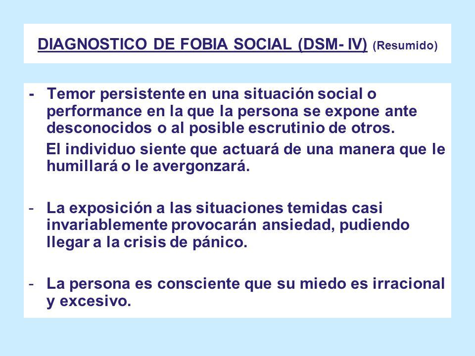 DIAGNOSTICO DE FOBIA SOCIAL (DSM- IV) (Resumido)