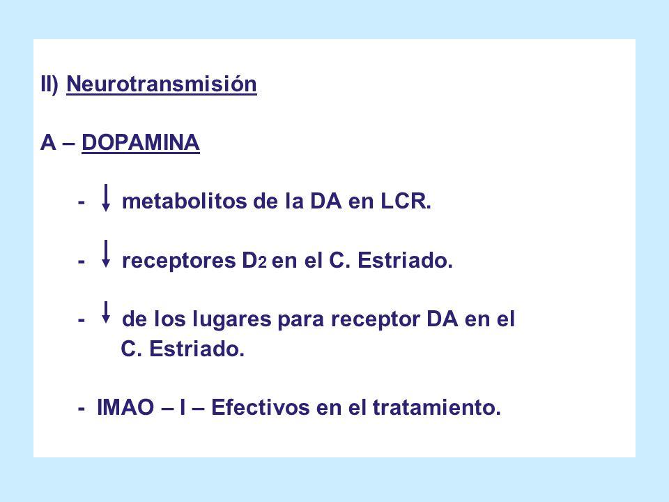 II) Neurotransmisión A – DOPAMINA. - metabolitos de la DA en LCR. - receptores D2 en el C. Estriado.