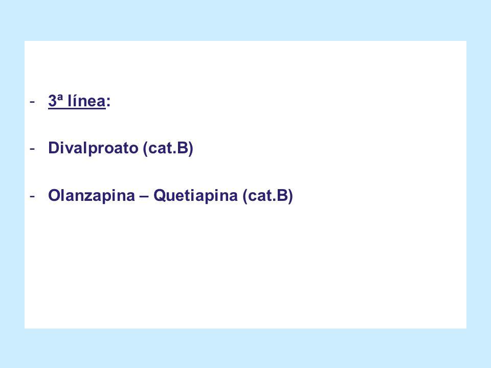 3ª línea: Divalproato (cat.B) Olanzapina – Quetiapina (cat.B)