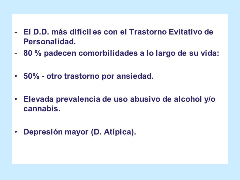 El D.D. más difícil es con el Trastorno Evitativo de Personalidad.