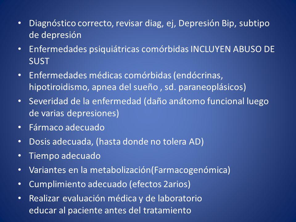 Diagnóstico correcto, revisar diag, ej, Depresión Bip, subtipo de depresión