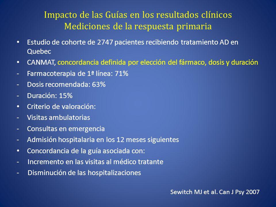 Impacto de las Guías en los resultados clínicos Mediciones de la respuesta primaria