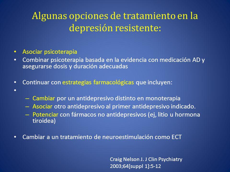 Algunas opciones de tratamiento en la depresión resistente: