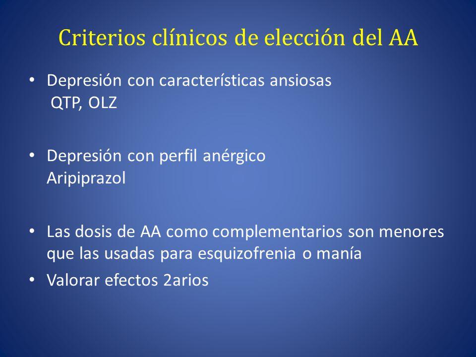 Criterios clínicos de elección del AA