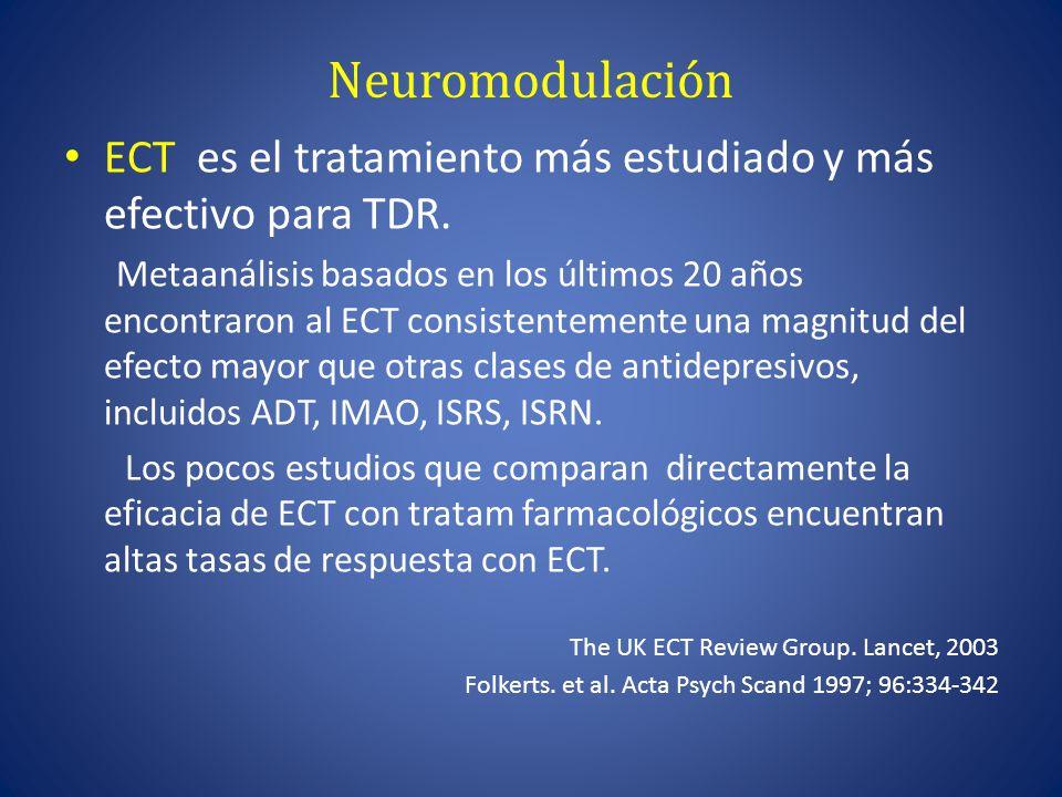 Neuromodulación ECT es el tratamiento más estudiado y más efectivo para TDR.