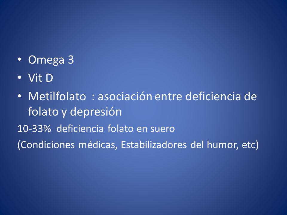 Metilfolato : asociación entre deficiencia de folato y depresión