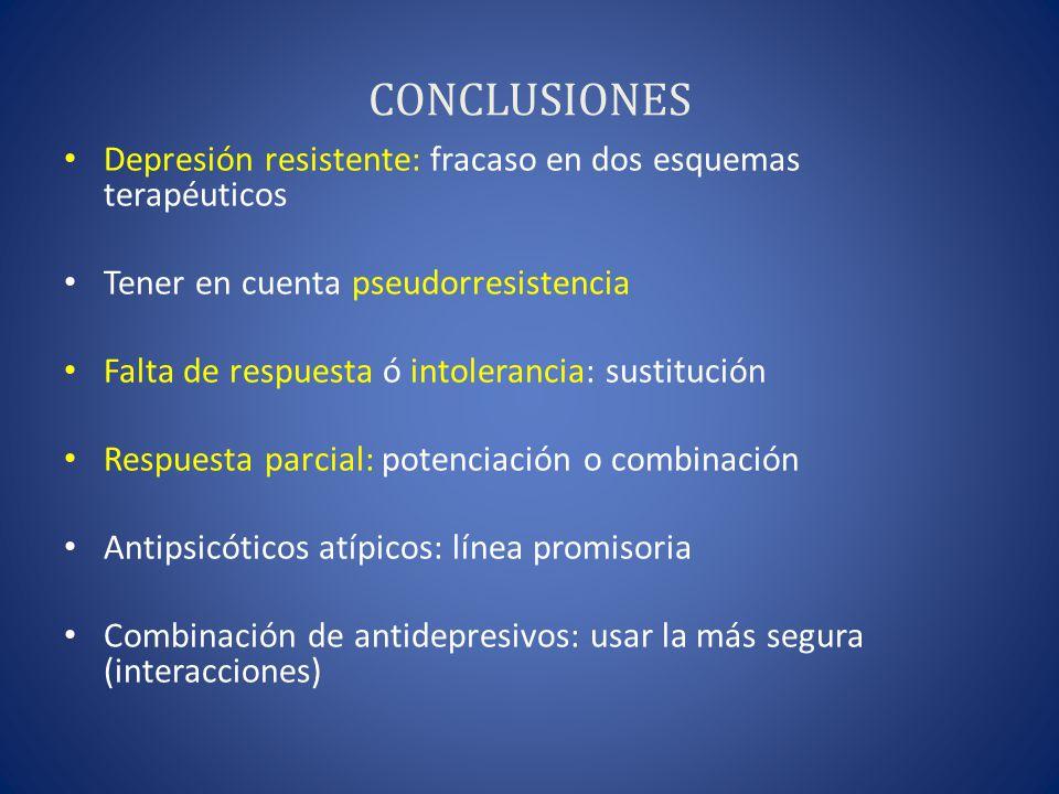 CONCLUSIONES Depresión resistente: fracaso en dos esquemas terapéuticos. Tener en cuenta pseudorresistencia.