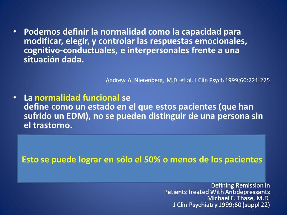 Esto se puede lograr en sólo el 50% o menos de los pacientes