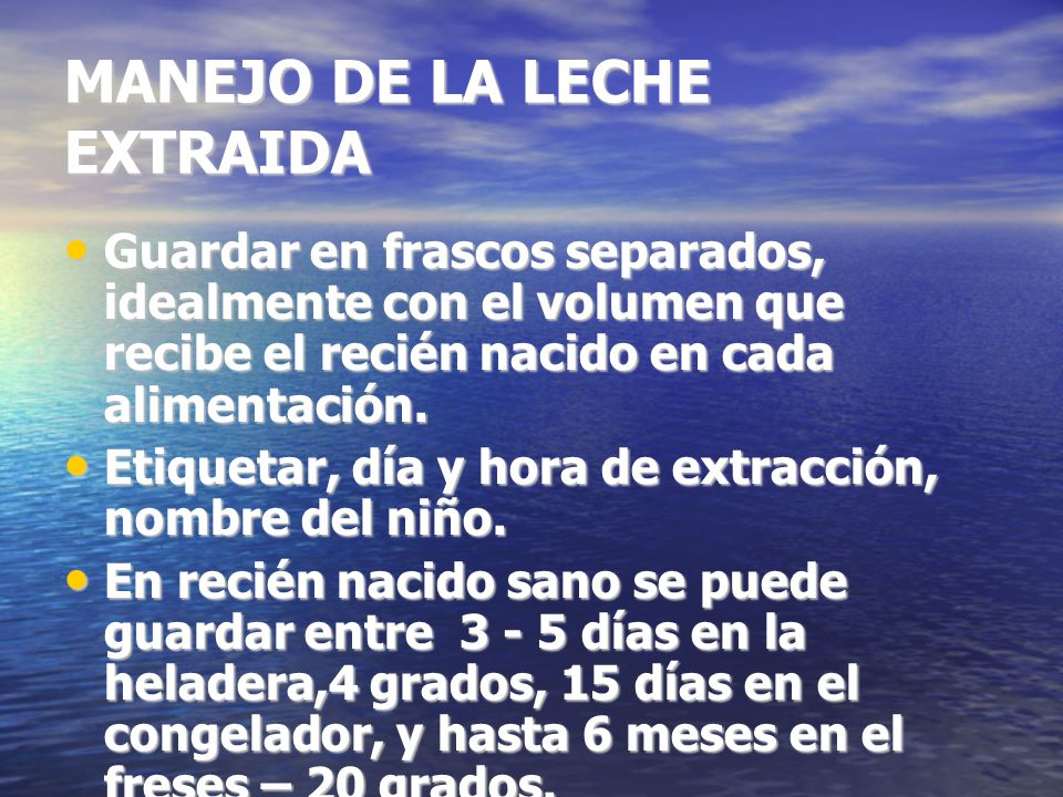 MANEJO DE LA LECHE EXTRAIDA