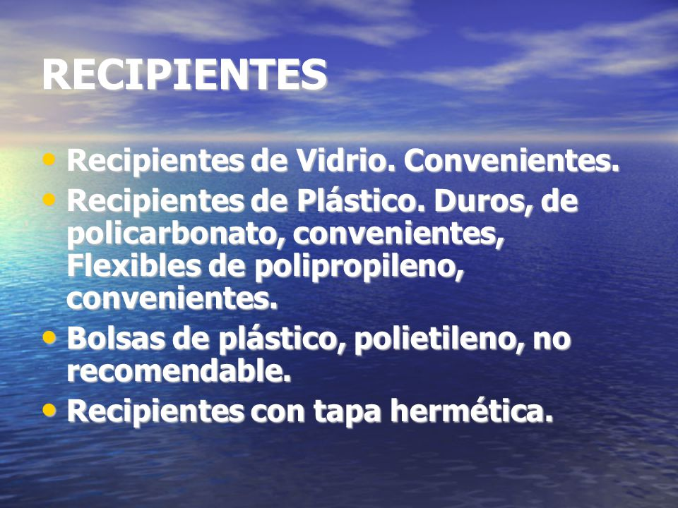 RECIPIENTES Recipientes de Vidrio. Convenientes.