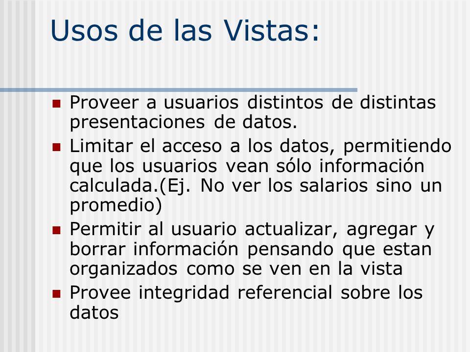 Usos de las Vistas: Proveer a usuarios distintos de distintas presentaciones de datos.