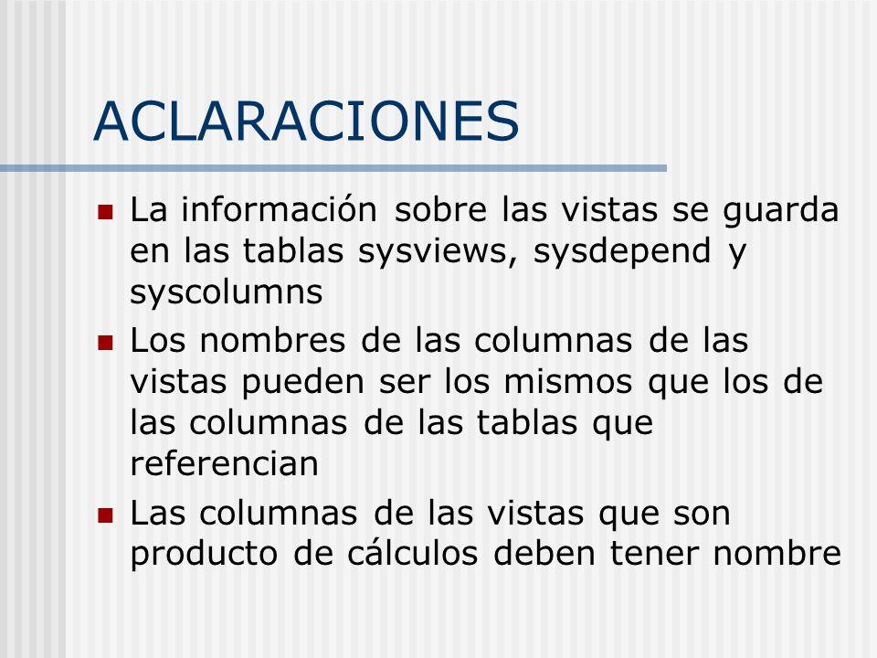 ACLARACIONES La información sobre las vistas se guarda en las tablas sysviews, sysdepend y syscolumns.